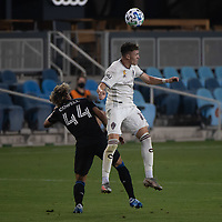 SAN JOSE, CA - SEPTEMBER 05: Sam Vines #13 heads the ball during a game between Colorado Rapids and San Jose Earthquakes at Earthquakes Stadium on September 05, 2020 in San Jose, California.