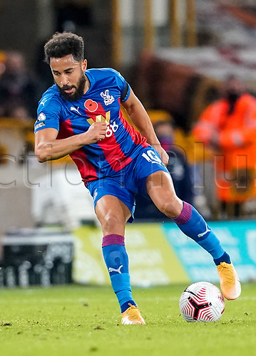 30th October 2020; Molineux Stadium, Wolverhampton, West Midlands, England; English Premier League Football, Wolverhampton Wanderers versus Crystal Palace; Andros Townsend of Crystal Palace traps the ball and cuts it back