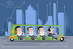 Illustrative image of businessmen travelling in bus against buildings representing business travel