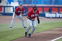Joe Gray Jr. (5) of the Carolina Mudcats takes his lead off of third base against the Kannapolis Cannon Ballers at Atrium Health Ballpark on June 10, 2021 in Kannapolis, North Carolina. (Brian Westerholt/Four Seam Images)