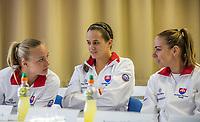 Bratislava, Slovenia, April 21, 2017,  FedCup: Slovakia-Netherlands, Draw ceremony, Slovakian  table.<br /> Photo: Tennisimages/Henk Koster