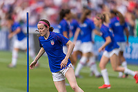 PARIS,  - JUNE 28: Rose Lavelle #16 warms up during a game between France and USWNT at Parc des Princes on June 28, 2019 in Paris, France.