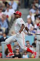 Juan Pierre #10 of the Philadelphia Phillies bats against the Los Angeles Dodgers at Dodger Stadium on July 16, 2012 in Los Angeles, California. Philadelphia defeated Los Angeles 3-2. (Larry Goren/Four Seam Images)