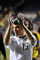 Michael Parkhurst (16) of the United States (USA) salutes the fans aftder the game. The men's national teams of the United States (USA) and Colombia (COL) played to a 0-0 tie during an international friendly at PPL Park in Chester, PA, on October 12, 2010.