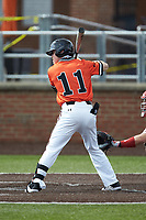 Bryce Arnold (11) of the Campbell Camels at bat against the Dayton Flyers at Jim Perry Stadium on February 28, 2021 in Buies Creek, North Carolina. The Camels defeated the Flyers 11-2. (Brian Westerholt/Four Seam Images)