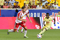 Harrison, NJ - Wednesday July 06, 2016: Damien Perrinelle, Carlos Quintero during a friendly match between the New York Red Bulls and Club America at Red Bull Arena.