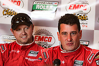 LEXINGTON, OH - SEPTEMBER 17:  Race winners Enzo Potolicchio, right, and Ryan Dalziel address the media after the EMCO Gears Classic at Mid-Ohio Sports Car Course on September 17, 2011 in Lexington, Ohio.  (Photo by Brian Cleary/bcpix.com)
