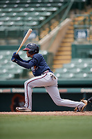 GCL Braves Luidemid Rojas (1) bats during a Gulf Coast League game against the GCL Orioles on August 5, 2019 at Ed Smith Stadium in Sarasota, Florida.  GCL Orioles defeated the GCL Braves 4-3 in the second game of a doubleheader.  (Mike Janes/Four Seam Images)