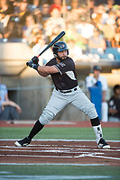 Salem-Keizer Volcanoes first baseman Robinson Medrano (7) at bat during a Northwest League game against the Hillsboro Hops at Ron Tonkin Field on September 1, 2018 in Hillsboro, Oregon. The Salem-Keizer Volcanoes defeated the Hillsboro Hops by a score of 3-1. (Zachary Lucy/Four Seam Images)
