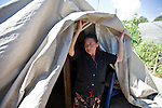 Sara Mercedes Zamora, 58, of San Marcos lives in a makeshift after a 7.4 earthquake struck Guatemala Nov. 7 destroyed her house.
