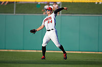 Indianapolis Indians right fielder Austin Meadows (24) throws from the outfield during a game against the Rochester Red Wings on July 24, 2018 at Victory Field in Indianapolis, Indiana.  Rochester defeated Indianapolis 2-0.  (Mike Janes/Four Seam Images)