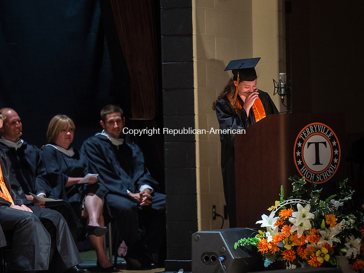 TERRYVILLE, CT- 8 June 2016-060816EC15-  Allison Trudeau, Terryville High School's Salutatorian, tears up during her speech during graduation Wednesday night. Erin Covey Republican-American