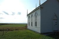 Church over looking farm land in Grande Pré Nova Scotia
