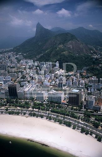 Rio de Janeiro, Brazil. Aerial view of Botafogo beach with the Morro Dona Marta , the Corcovado and the Christ Statue.