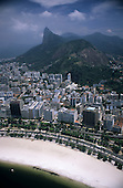 Rio de Janeiro, Brazil. Aerial view of Botafogo beach with the Morro Dona Marta , the Corcovado and the Christ Statue.