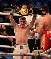 9th October 2021; M&S Bank Arena, Liverpool, England; Matchroom Boxing, Liam Smith versus Anthony Fowler; LIAM SMITH (Liverpool, England) holds up his belt after his win over ANTHONY FOWLER (Liverpool, England)  for the WBA International Super-Welterweight Title