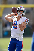 Buffalo Bills quarterback Nathan Peterman (2) warms up before an NFL Wild-Card football game against the Jacksonville Jaguars, Sunday, January 7, 2018, in Jacksonville, Fla.  (Mike Janes Photography)
