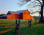 LaSalle County, IL<br /> Split rail fence and red barn in early spring