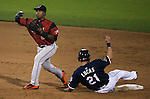 Sacramento River Cats' Rando Moreno gets Reno Aces' Ed Lucas out at Greater Nevada Field in Reno, Nev., on Tuesday, July 26, 2016.  <br />Photo by Cathleen Allison