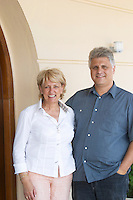 Tsaktsarlis Vassilis, owner winemaker oenologist and Annegret Stamos, export manager. Biblia Chora Winery, Kokkinohori, Kavala, Macedonia, Greece