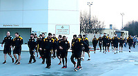 Photo: Richard Lane/Richard Lane Photography. Wasps team run at Stadio Sergio Lanfranchi ahead of their European Champions Cup game against Zebre at Parma. 21/01/2017. Wasps players leave their team run at the Studio Rugby.