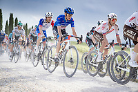 """Maglia Azzurra / KOM Leader / Mountains Clasification Leader Geoffrey Bouchard (FRA/AG2R Citroën) over the final gravel sector of the day.<br /> <br /> 104th Giro d'Italia 2021 (2.UWT)<br /> Stage 11 from Perugia to Montalcino (162km)<br /> """"the Strade Bianche stage""""<br /> <br /> ©kramon"""