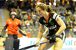 Berlin, Germany, February 09: During the FIH Indoor Hockey World Cup Pool B group match between Germany (black) and Australia (yellow) on February 9, 2018 at Max-Schmeling-Halle in Berlin, Germany. Final score 2-2. (Photo by Dirk Markgraf / www.265-images.com) *** Local caption *** Luisa STEINDOR #6 of Germany