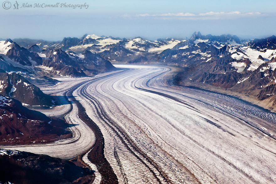 Four smaller glaciers merge with the much larger Kahiltna Glacier, creating very interesting lines as they flow down from Denali.