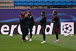 Atletico de Madrid's coaching staff during the practice session the day before the EUFA Champions League match between Atletico de Madrid and FC. Barcelona at Vicente Calderon in Madrid. April 13, 2016. (ALTERPHOTOS/Borja B.Hojas)