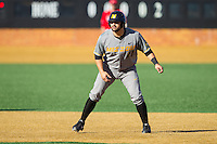 Shane Segovia (11) of the Missouri Tigers takes his lead off of second base against the Radford Highlanders at Wake Forest Baseball Park on February 21, 2014 in Winston-Salem, North Carolina.  The Tigers defeated the Highlanders 15-3.  (Brian Westerholt/Four Seam Images)