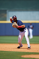 Mississippi Braves second baseman Alejandro Salazar (48) throws to first base during a Southern League game against the Jacksonville Jumbo Shrimp on May 5, 2019 at Trustmark Park in Pearl, Mississippi.  Mississippi defeated Jacksonville 1-0 in ten innings.  (Mike Janes/Four Seam Images)