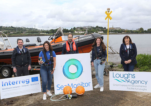 Pictured at Loughs Agency headquarters in Derry, from left: Ross McGill, principal project officer for SeaMonitor; researcher Cassandra Hartery; SeaMonitor senior scientific officer Diego del Villar; researcher Caitlin Bate; and Loughs Agency chief executive Sharon McMahon