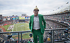 November 17, A Notre Dame fan dressed for the Shamrock Series football game against Syracuse in Yankee Stadium, New York. (Photo by Barbara Johnston/University of Notre Dame)