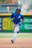 Kean Wong (5) of the Durham Bulls rounds the bases after hitting a home run against the Charlotte Knights at BB&T BallPark on May 27, 2019 in Charlotte, North Carolina. The Bulls defeated the Knights 10-0. (Brian Westerholt/Four Seam Images)