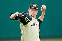 John McLeod #17 of the Wake Forest Demon Deacons throws in the outfield prior to the game against the North Carolina State Wolfpack at Doak Field at Dail Park on March 17, 2012 in Raleigh, North Carolina.  The Wolfpack defeated the Demon Deacons 6-2.  (Brian Westerholt/Four Seam Images)