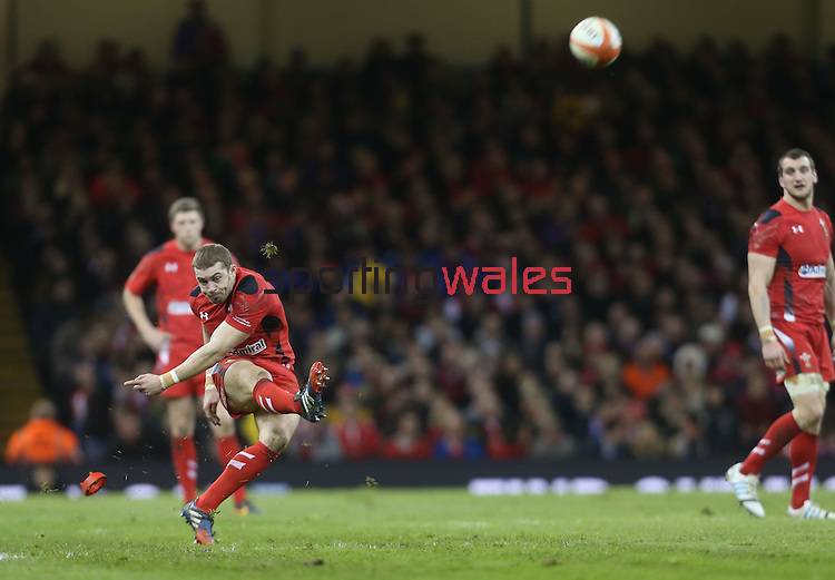 Wales full back Leigh Halfpenny attempts a long range penalty.<br /> RBS 6 Nations 2014<br /> Wales v France<br /> Millennium Stadium<br /> 21.02.14<br /> <br /> ©Steve Pope-SPORTINGWALES