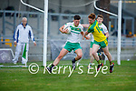 Ballydonoghue wing back Jack Gogarty and Jack Cremin of Gneeveguilla tussle as Gogarty is about to clear his defence in the 2020 County Junior Premier football final