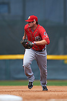 Harrisburg Senators first baseman Shawn Pleffner (10) during a game against the Erie Seawolves on August 30, 2015 at Jerry Uht Park in Erie, Pennsylvania.  Harrisburg defeated Erie 4-3.  (Mike Janes/Four Seam Images)