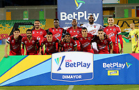 BUCARAMANGA - COLOMBIA, 05–04-2021: Jugadores de Patriotas Boyaca F.C. posan para una foto antes de partido entre Atletico Bucaramanga y Patriotas Boyaca F.C. de la fecha 17 por la Liga BetPlay DIMAYOR I 2021, jugado en el estadio Alfonso Lopez de la ciudad de Bucaramanga. / Players of Patriotas Boyaca F.C. pose for a photo prior a match between Atletico Bucaramanga and Patriotas Boyaca F.C. of the 17th date for the BetPlay DIMAYOR I 2021 League at the Alfonso Lopez stadium in Bucaramanga city. / Photo: VizzorImage / Jaime Moreno / Cont.