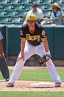 Grant Green (7) of the Salt Lake Bees on defense against the Albuquerque Isotopes in Pacific Coast League action at Smith's Ballpark on June 28, 2015 in Salt Lake City, Utah. The Isotopes defeated the Bees 8-3. (Stephen Smith/Four Seam Images)