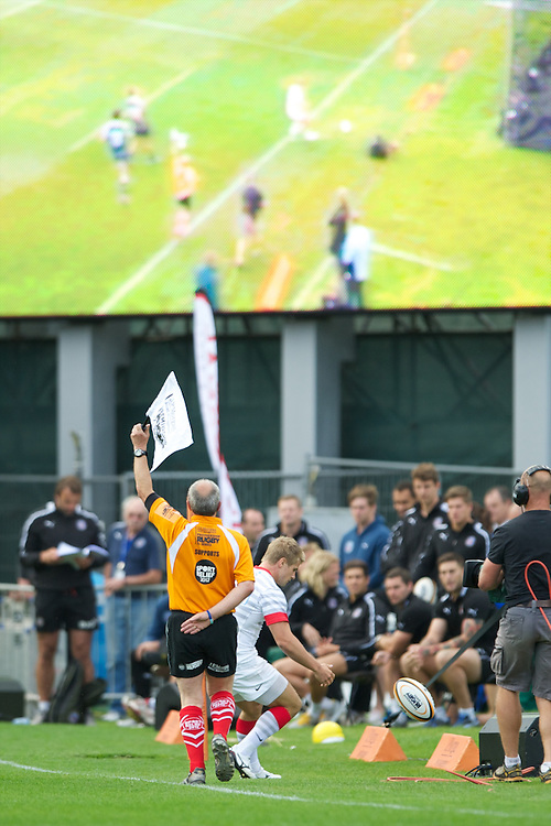 20120803 Copyright onEdition 2012©.Free for editorial use image, please credit: onEdition..JP Morgan branding at The Recreation Ground, Bath in the Final round of The J.P. Morgan Asset Management Premiership Rugby 7s Series...The J.P. Morgan Asset Management Premiership Rugby 7s Series kicked off again for the third season on Friday 13th July at The Stoop, Twickenham with Pool B being played at Edgeley Park, Stockport on Friday, 20th July, Pool C at Kingsholm Gloucester on Thursday, 26th July and the Final being played at The Recreation Ground, Bath on Friday 3rd August. The innovative tournament, which involves all 12 Premiership Rugby clubs, offers a fantastic platform for some of the country's finest young athletes to be exposed to the excitement, pressures and skills required to compete at an elite level...The 12 Premiership Rugby clubs are divided into three groups for the tournament, with the winner and runner up of each regional event going through to the Final. There are six games each evening, with each match consisting of two 7 minute halves with a 2 minute break at half time...For additional images please go to: http://www.w-w-i.com/jp_morgan_premiership_sevens/..For press contacts contact: Beth Begg at brandRapport on D: +44 (0)20 7932 5813 M: +44 (0)7900 88231 E: BBegg@brand-rapport.com..If you require a higher resolution image or you have any other onEdition photographic enquiries, please contact onEdition on 0845 900 2 900 or email info@onEdition.com.This image is copyright the onEdition 2012©..This image has been supplied by onEdition and must be credited onEdition. The author is asserting his full Moral rights in relation to the publication of this image. Rights for onward transmission of any image or file is not granted or implied. Changing or deleting Copyright information is illegal as specified in the Copyright, Design and Patents Act 1988. If you are in any way unsure of your right to publish this image please contact onEdition on 0845 900 2 90