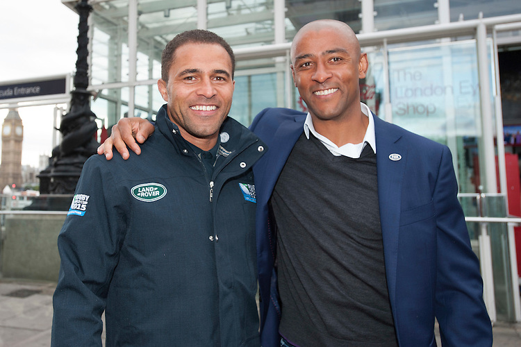 Former World Cup winners Jason Robinson (England 2003) and George Gregan (Australia 1999)at the launch of Rugby World Cup England 2015- 15/09/2015 - London Eye - London <br /> Mandatory Credit: Rob Munro/Stewart Communications