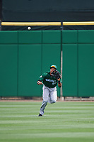 Daytona Tortugas center fielder Jonathan Reynoso (40) catches a fly ball during a game against the Clearwater Threshers on April 20, 2016 at Bright House Field in Clearwater, Florida.  Clearwater defeated Daytona 4-2.  (Mike Janes/Four Seam Images)