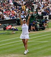 """5th July 2021, Wimbledon, SW London, England; 2021 Wimbledon Championships, day 7; Angelique Kerber , Germany shows her delight at beating Cori """"Coco"""" Gauff of USA in 2 sets to make the quarter-finals of the ladies singles"""