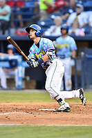 Asheville Hippies second baseman Max George (3) swings at a pitch during a game against the Greenville Drive at McCormick Field on June 29, 2017 in Asheville, North Carolina. The Drive defeated the Tourists 9-6. (Tony Farlow/Four Seam Images)