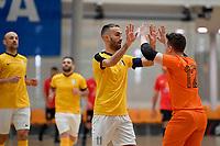 Lucas Da Silva of Capital celebrates a goal during the Men's Futsal SuperLeague, Canterbury United Futsal Dragons v Capital Futsal at ASB Sports Centre, Wellington on Saturday 31 October 2020.<br /> Copyright photo: Masanori Udagawa /  www.photosp ort.nz