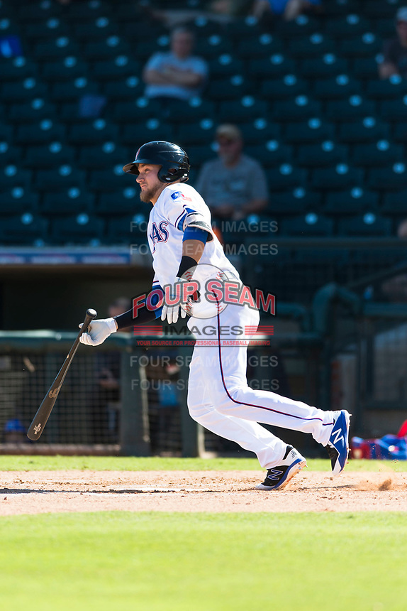 Surprise Saguaros third baseman Charles Leblanc (12), of the Texas Rangers organization, starts down the first base line during an Arizona Fall League game against the Peoria Javelinas at Surprise Stadium on October 17, 2018 in Surprise, Arizona. (Zachary Lucy/Four Seam Images)