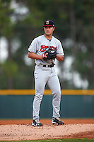 Brevard County Manatees starting pitcher Kodi Medeiros (16) gets ready to deliver a pitch during a game against the Lakeland Flying Tigers on April 19, 2016 at Henley Field in Lakeland, Florida.  Lakeland defeated Brevard County 9-2.  (Mike Janes/Four Seam Images)