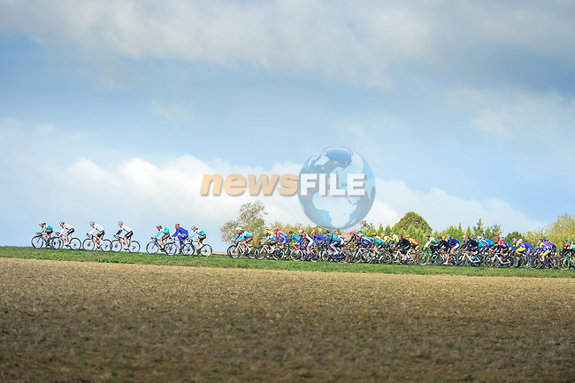 The peloton in action during Paris-Tours 2020, running 213km from Chartres to Tours, France. 11th October 2020.<br /> Picture: ASO/Gautier Demouveaux   Cyclefile<br /> All photos usage must carry mandatory copyright credit (© Cyclefile   ASO/Gautier Demouveaux)
