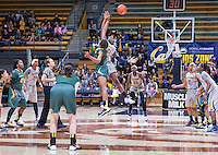 Reshanda Gray of California tip off to start overtime against Oregon at Haas Pavilion in Berkeley, California on January 5th, 2014. California defeated Oregon